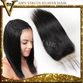 4*4inch 스위스 레이스 폐쇄 브라질 처녀 머리 직선 머리카락 폐쇄 중간 부분, 무료 기본 최고 표백 옹이 이별