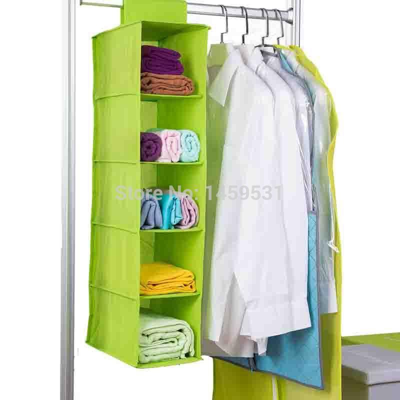Free Shipping 5 Layers Wardrobe Closet Bag Shoes Clothes Organizer Bra Underwear Storage Box Wall Hanging Basket Organizador(China (Mainland))