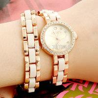 Black White Free Shipping GEANEL Brand Fashion Watch Women Watches Dress Rhinestone  Bracelet  Quartz Watch Relogio Feminino