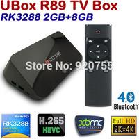 UBOX R89 RK3288 Android TV BOX Quad Core 1.8GHz 2G/8G H.265 XBMC OTA HDMI 4K*2K WiFi RJ45 OTG BT4.0 SPDIF Android 4.4 Smart TV
