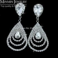 Wholesale Free Shipping Silver Crystal Teardrop Bridal Earrings for Women Imitation Gemstone Jewelry Big Earrings Christmas Gift