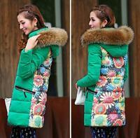 2014 New Fashion Women Winter Coat Female Korean Slim Genuine Raccoon Fur Collar Thickening Medium-Long Down Jacket Parka