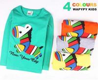 New kids children  T-shirt boy girl printing stereo zebra bottoming shirt  100% Cotton Shirts T-shirt  long sleeved Tops Tees