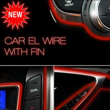 Red 3m Flexible Moulding EL Neon Glow Lighting Rope Strip with fin for Car Decoration(China (Mainland))