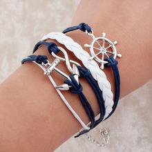 Handmade bracelet pulseras Wax Love Anchor Owl Hungry Games Leather bracelet Charm bracelets pulseira couro bracelets