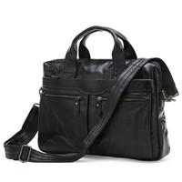 Factory Directly 100% Genuine Leather JMD Vintage Men's Black Handbag Messenger Bag Laptop Briefcase #7122B
