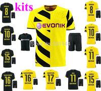 2014/15 Borussia Dortmund BVB home away soccer football jersey + shorts kits, top quality Reus Gundogan 2015 soccer uniforms