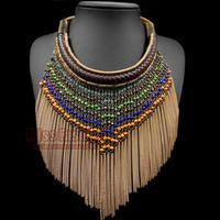 Brand Designer Ethnic Long Fringe African Jewelry , Brand Statement Necklace Long Tassel Vintage African Necklace for Women