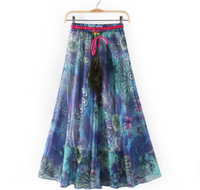 Wholsale Bohemian Chiffon Skirts Beach Nation Printed Skirts 2014 Women Fashion Full Length Long Skirt BIg Hip Skirt Spring