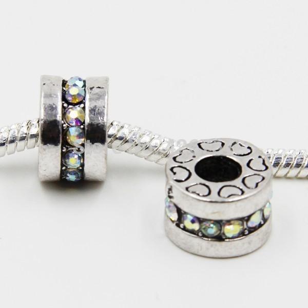 10pcs 12mm Antique silver rondelle beads DIY alloy ab color rhinestone European Beads fit Pandora Bracelet