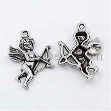 Antique Silver Tibetan Style Cupid Pendants,  Lead Free and Cadmium Free,  Size: about 28mm long,  18mm wide,  5mm thick