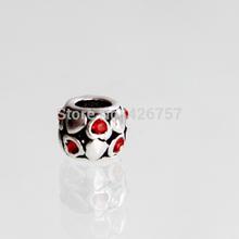 10pcs 9mm Antique silver love heart charm beads DIY zinc alloy big hole charm beads fit