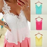FanShou Free Shipping 2014 Women Blouse Lady Patchwork Lace Shirts Sexy Chiffon Blouse Spagetti Strap Vest Tops Blusas XXXL