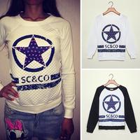 FanShou Free Shipping 2014 Women Hoodies Spring Autumn Sportswear Letter Print Pullovers Fleece French Terry Sweatshirts