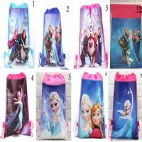 2014 Frozen Cartoon Tote Bag Drawstring Backpack Mochilas Frozen Non-woven Bags Children School Bag Pack 8 Kinds Frozen Bag