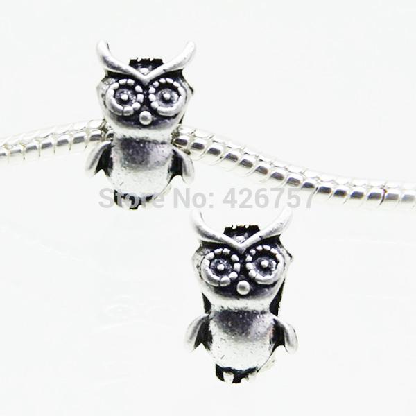 New 10PCS lot Antique Silver Owl Charm European Beads Fits Pandora Style Bracelet Jewelry HJ00355