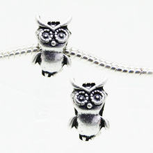 30pcs 9*14mm Antique silver owl european charm beads fit bracelets jewelry findings DIY accessories Free shipping! HJ00355