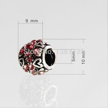 Metal Charm beads 10 pcs 10mm Antique silver pink rhinestone heart beads Fit Pandora jewelry Fitting