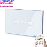 2 gang Wlansmart smart phone Remote Wall touch Switch US AU Standard RF 433MHz control lamps by broadlink White Glass smart home