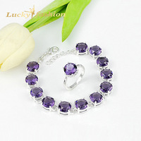 11.11 Big Sale New Arrival Round Amethyst Bracelet Ring Jewelry Sets Classic Wedding Jewelry for women