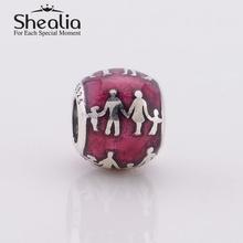 2014 new red enamel family bonds women beads 925 sterling silver jewelry findings fit european charm bracelets diy
