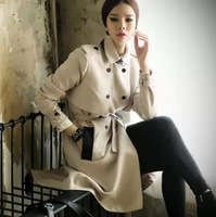 2015 New High End Fashion Spring Autumn Winter Women Elegant Apricot Double Breasted Trench Coat OL Casual Plus Size Outerwear