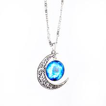 LACKINGONE Fashion Jewelry Choker Necklace Glass Galaxy Lovely Pendant Silver Chain Moon Necklace Pendant 2014 AliExpress