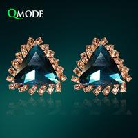 QMODE Luxury Big Triangle Blue Stones Earrings Fashion Jewelry for Women Sapphire Clip Earrings Crystal Earrings Office Styles