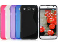 8 Colors 10pcs/lot S Line Soft Silicone Gel Case for LG Optimus G Pro F240 TPU Skin Back Cover Phone Cases, High Quality