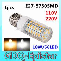 1pcs High Bright 18W E27 56 LEDs 110V 220V High Quality 5730 SMD Corn LED Bulb Ceiling light