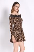 New!!2014 New Women Sexy Casual Lace Leopard Print Long Sleeve Dress Mini Dress Sexy Winter Party Vestidos Size S-XL b9 SV008718