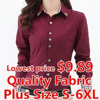 Elegant Office Women Shirt Long Sleeve S-6XL Plus Size Plaid Shirt Blusas Femininas Work Body Tops Women Casual Blouse Shirt