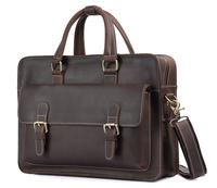 "Genuine leather portfolio men leather briefcase 14"" laptop bag carry on handbag tote TIDING 1117"