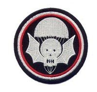 Wholesales 100pcs/lot Embroidery Bat Skull patch with Parachute On It