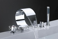 5 Holes Chrome Waterfall Bathtub Faucet - Wholesale- Free Shipping ( Y-8014)