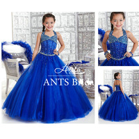 FL187 Communion Blue Ball Gown Flower Girl Dress
