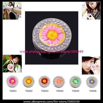Double Circle Bing Rhinestones Purse Bag Hanger Pink Sunflower Inlaid Purse Hook Handbag Holder