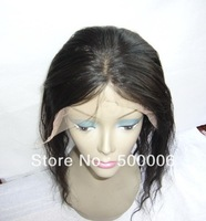 "18"" virgin Indian remy human hair lace frontal  closure  Natural black color  Natural loose wave"