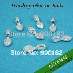 Antique Brass Samll Teardrop Glue on Bails, Teardrop Jewelry Bails Great for Glass or Scrabble Tiles