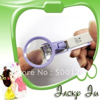 Free Shipping New Magnifier Magnify Glass Nail Clip Clipper Scissors Cutter Nipper with Magnifying Glass