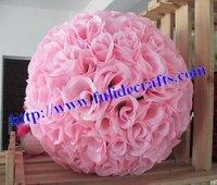 25cm plastic center artificial pink wedding kissing decoration flowers ball 20 colors available,15pcs/lot