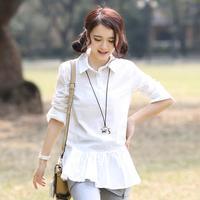 2014 autumn fashion brief medium-long women's long-sleeve shirt basic shirt