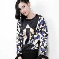 2014 women's top fashion rock print loose women's long-sleeve pullover sweatshirt