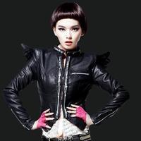 2014 PU leather women's wings three-dimensional punk zipper stand collar short jacket