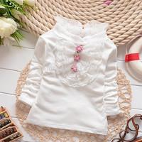 Female kids basic shirt spring and autumn turtleneck all-match lace princess girls long-sleeve children T-shirt