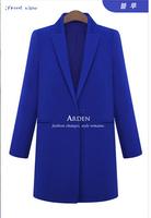 2014 fashion Candy colors women woolen coat slim long wool blended overcoat winter tops warm jacket outwear for woman 5 colors
