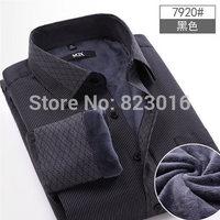 Striped Winter Men Thermal shirt male plus velvet thickening shirt  shirt long-sleeve commercial men's clothing warm dress shirt