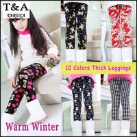 New Children Winter Leggings Kids Print Flower Baby Snow Pants Girls Leggings,Warm Thick Velvet Sweet Leggings Princess Trousers