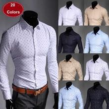 New 2014 Mens Shirt Slim fit Fashion long-sleeve casual shirts men, men's dress Shirts High quality camisas 20 COLORS(China (Mainland))