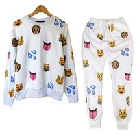 free shipping Harajuku 3D tracksuits print cartoon emoji joggers suits sweat suit shirt + pants for men /women sportwear joggers